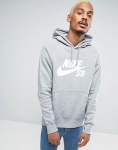 Худи серого цвета Nike SB Icon 846886-063 - Серый