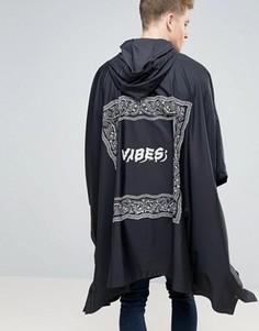 Черное пончо с платочным принтом ASOS - Черный