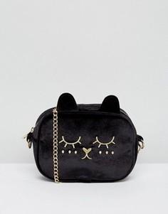 Бархатная сумка через плечо в виде кота ASOS - Черный