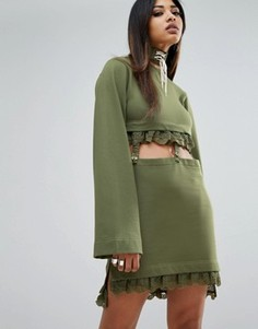Платье с рукавами кимоно и ремешками Puma X Fenty - Зеленый