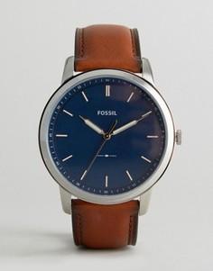 Часы с коричневым кожаным ремешком Fossil FS5304 44 мм - Рыжий