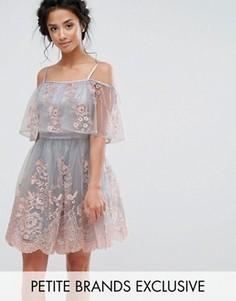 Короткое приталенное платье с открытыми плечами и 3D вышивкой Chi Chi Petite - Мульти