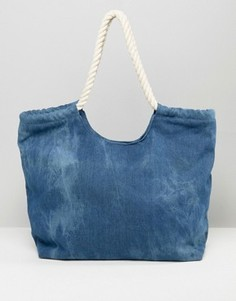Синяя джинсовая сумка с веревочными ручками South Beach - Синий