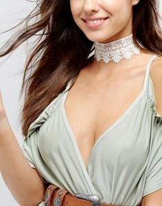 Праздничное кружевное ожерелье-чокер ASOS - Белый