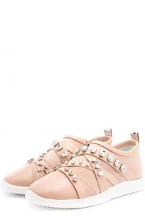 Комбинированные кроссовки с кристаллами Giuseppe Zanotti Design