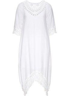 Платье с плетеной отделкой (белый) Bonprix