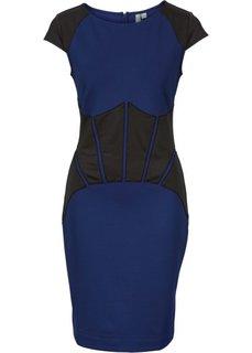 Платье со вставками из искусственной кожи (ночная синь/черный) Bonprix