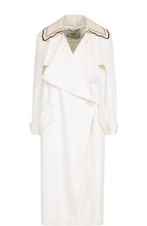 Пальто прямого кроя с декорированным воротником Fendi