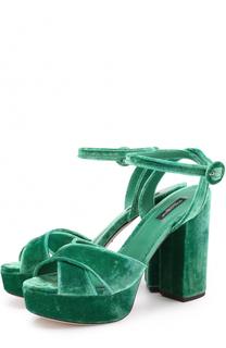 Бархатные босоножки на устойчивом каблуке Dolce & Gabbana