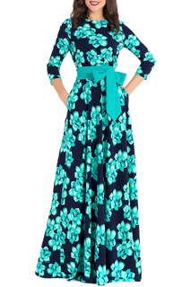 Длинное приталенной платье с поясом Eva Davidova