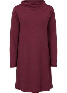 Платье с воротником-стойкой (бордовый) Bonprix