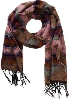 Жаккардовый шарф Этно (серо-коричневый с рисунком) Bonprix