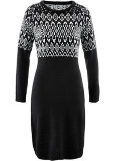 Вязаное платье (черный/цвет белой шерсти с узором) Bonprix
