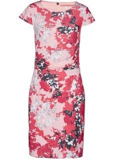 Трикотажное платье (белый/нежный ярко-розовый в цветочек) Bonprix