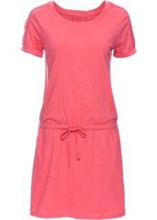 Платье с коротким рукавом и лентой для завязывания в талии (ярко-розовый) Bonprix