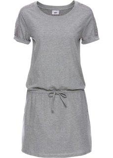 Платье с коротким рукавом и лентой для завязывания в талии (светло-серый меланж) Bonprix