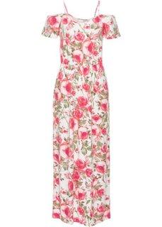 Трикотажное макси-платье с вырезами (цвет белой шерсти в цветочек) Bonprix