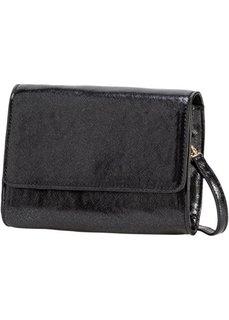 Блестящая сумка на ремне через плечо (черный металлик) Bonprix