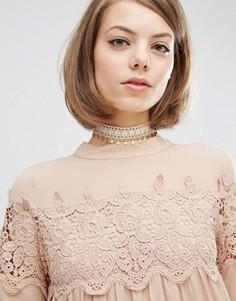 Кружевное ожерелье‑чокер Rock N Rose Charlotte - Кремовый