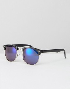 Солнцезащитные очки в стиле ретро с синими стеклами Jeepers Peepers - Черный