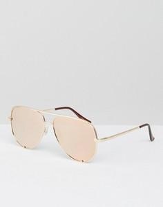Солнцезащитные очки-авиаторы цвета розового золота Quay Australia x Desi - Золотой