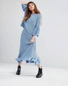 Трикотажная юбка миди с баской по краю Rokoko Co-Ord - Синий