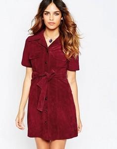 Замшевое платье-рубашка ASOS - Красный