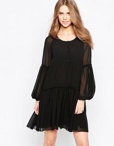 Свободное платье с плиссированной юбкой Minimum Moves - Черный