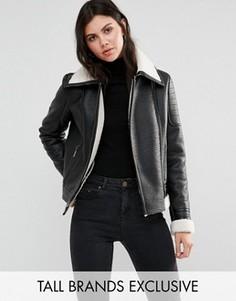 Куртка из искусственной цигейки с кожаной отделкой Glamorous Tall - Черный