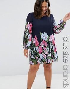 Цельнокройное платье размера плюс с цветочным принтом Yumi Plus - Темно-синий
