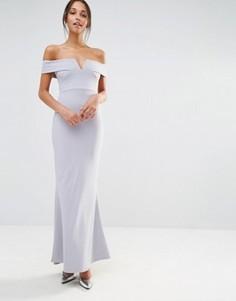 Платье макси из крепа с широкой горловиной и вырезом Missguided - Серый