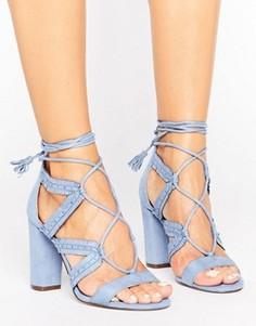Босоножки на каблуке, шнуровке и с рюшами и Call It Spring Veriri - Синий