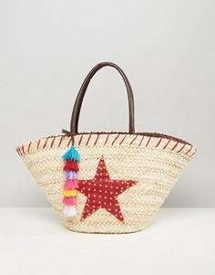 Плетеная пляжная сумка с помпонами и звездой Chateau - Бежевый