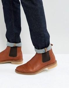 Светло-коричневые кожаные ботинки челси с плетеной отделкой ASOS - Рыжий