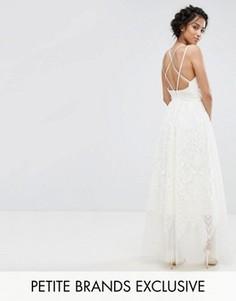 Кружевное платье-премиум макси с перекрестными бретельками на спине Chi Chi Petite - Кремовый