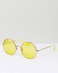 Круглые желтые солнцезащитные очки в стиле oversize от Ray Ban - Желтый