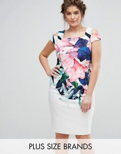 Платье с открытыми плечами и цветочным принтом Coast Plus Flamenco - Мульти