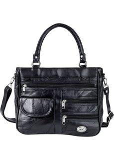 Кожаная сумка Пэч с карманами на молниях (черный) Bonprix