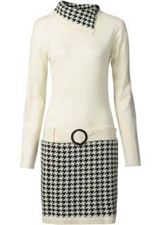 Вязаное платье (кремовый/черный) Bonprix