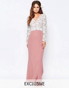 Платье макси с кружевным лифом и отделкой на талии Elise Ryan - Розовый