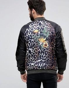 Куртка с леопардовым принтом и вышивкой тукана ASOS - Черный