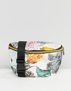Сумка-кошелек на пояс с цветочным принтом Mi Pac - Белый