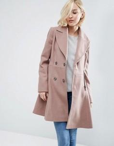 Приталенное пальто из шерстяной смеси в байкерском стиле ASOS - Розовый