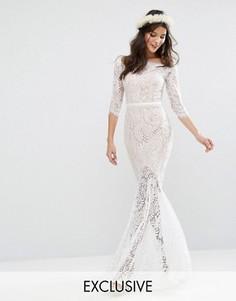 Свадебное кружевное платье макси с вырезом лодочкой Jarlo - Белый