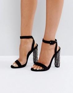 Босоножки на каблуке с бисерной отделкой Missguided - Черный