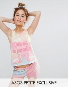 Пижамные шорты и футболка с фламинго ASOS PETITE - Мульти