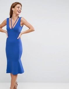 Платье миди с глубоким вырезом на спине и оборкой ASOS - Мульти
