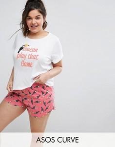 Пижамный топ с короткими рукавами и шорты с принтом туканов ASOS CURVE - Мульти