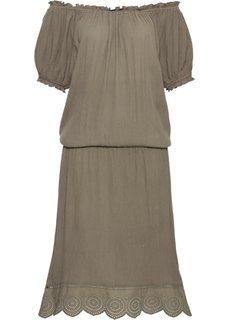 Платье с вырезом-кармен и удлиненными боковыми краями (зеленый ил) Bonprix