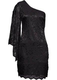 Кружевное платье на одно плечо (черный) Bonprix